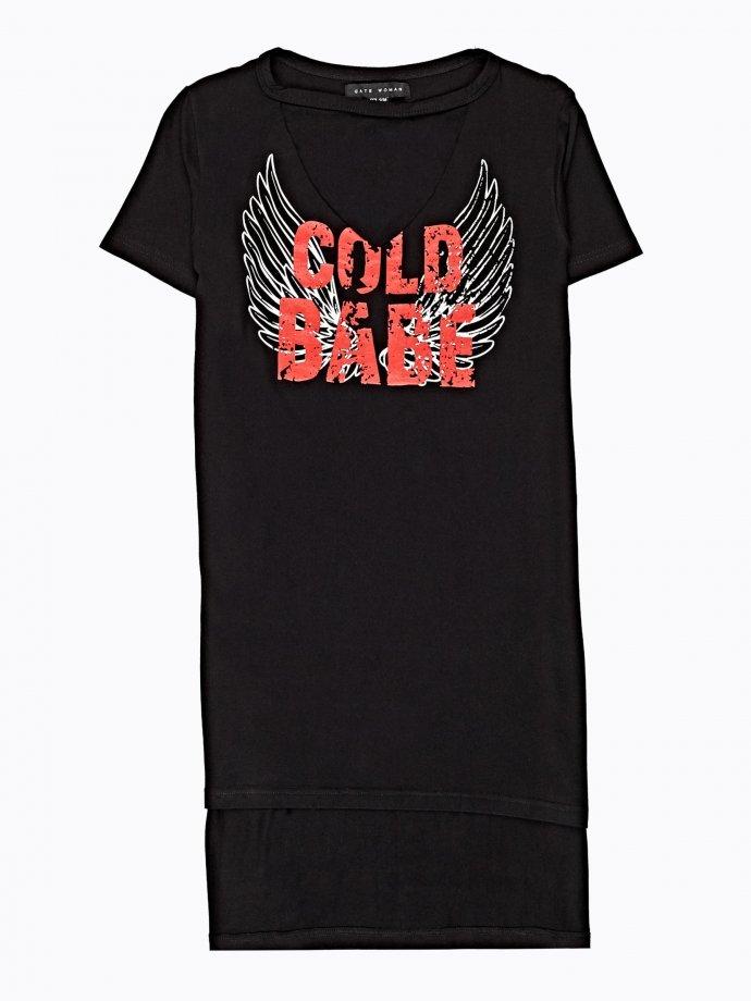Longline t-shirt with choker collar