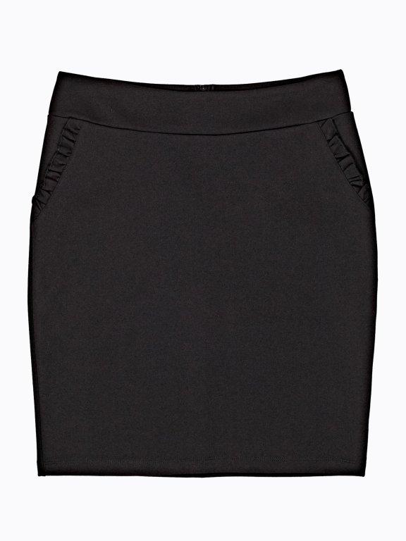 Mini skirt with ruffle pocket detail