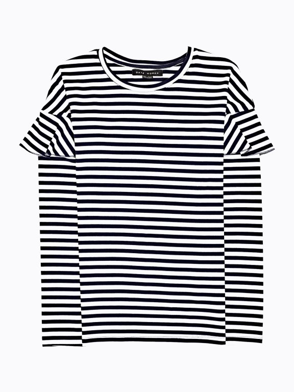 Stripped top with ruffle sleeve detail