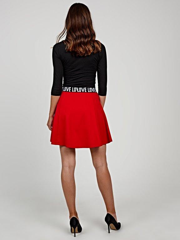 Skater skirt with printed waist band