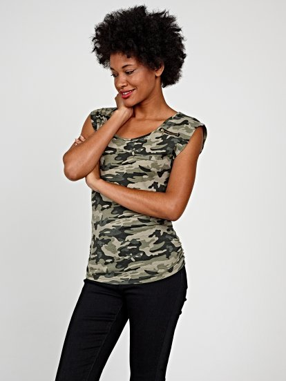 Camo print top with zipper detail