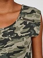 Camo print top with zipper detail