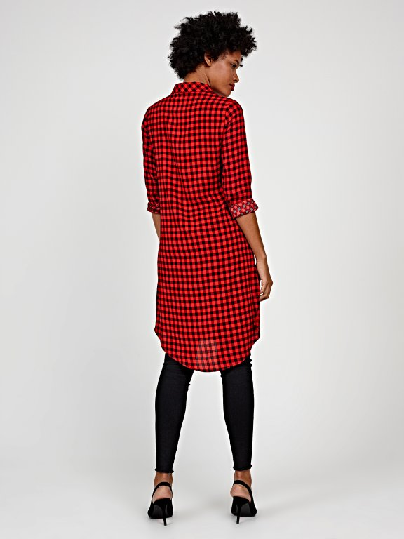 Longline plaid shirt with front ruffle