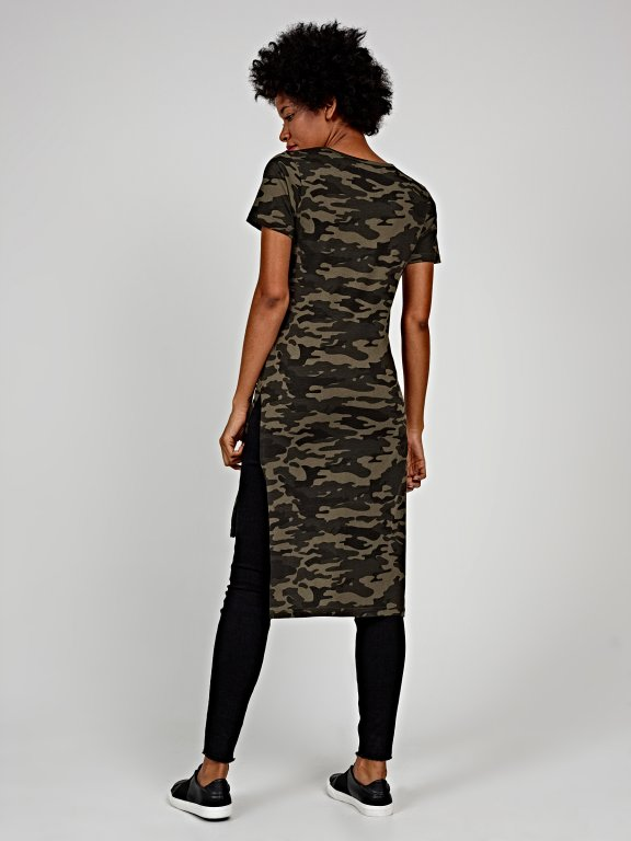 Longline camo print t-shirt