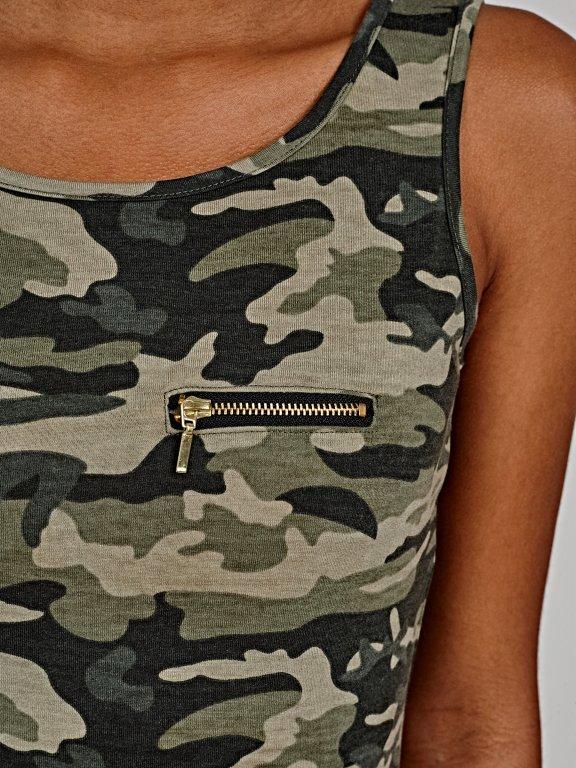 Camo print tank with zipper detail
