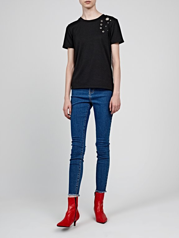 T-shirt with eyelets