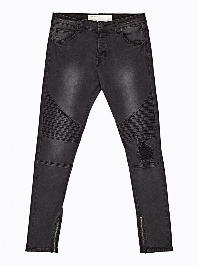 Ripped knee slim cropped fit biker jeans