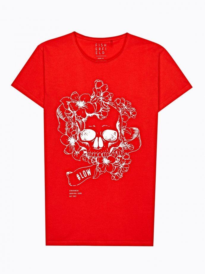 Skull print t-shirt with raw edges