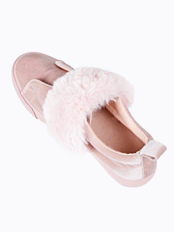 Velvet slip-ons with faux fur strap