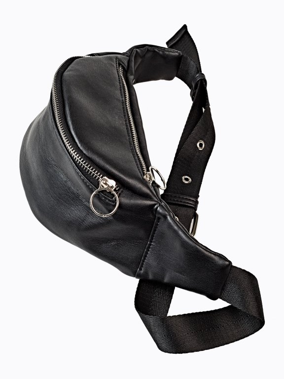Faux leather kidney bag