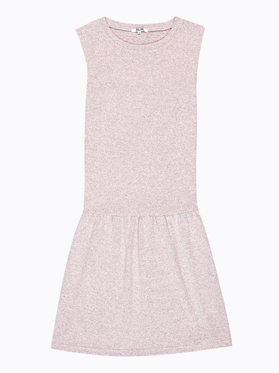 Marled sleeveless dress with ruffle hem