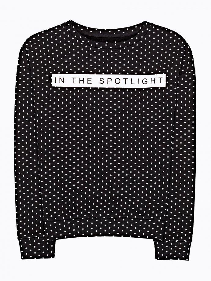 Bluza w grochy z napisem
