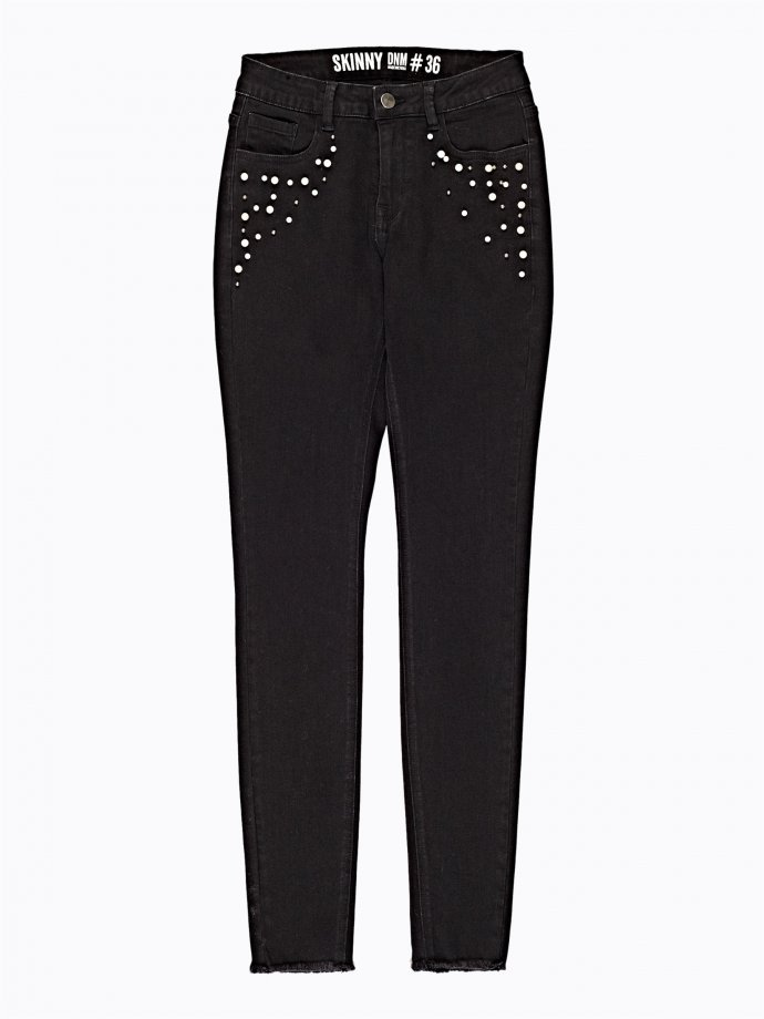 Skinny jeans with pearls