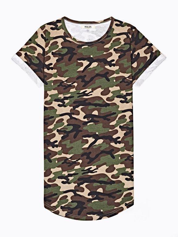 Camo print t-shirt with print on back