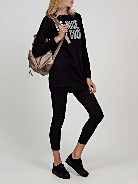 Longline sweatshirt with metallic message print