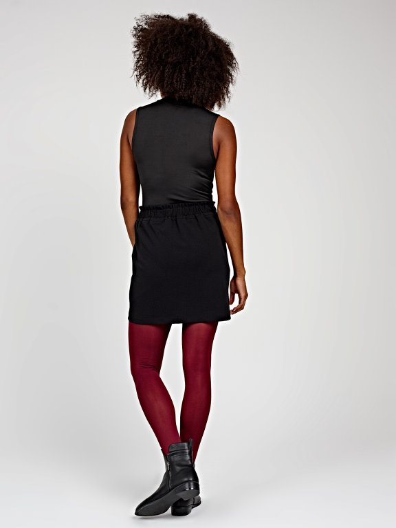 Sleeveless bodysuit with high collar
