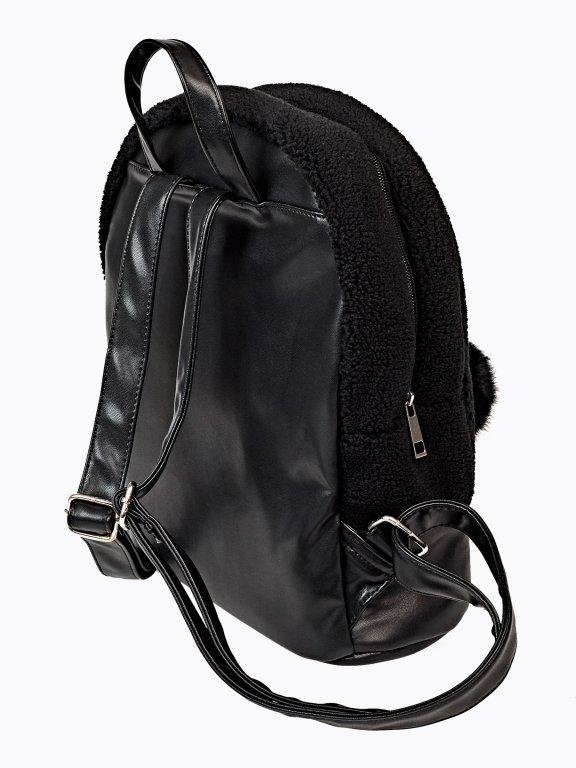 Mini backpack with pom pom