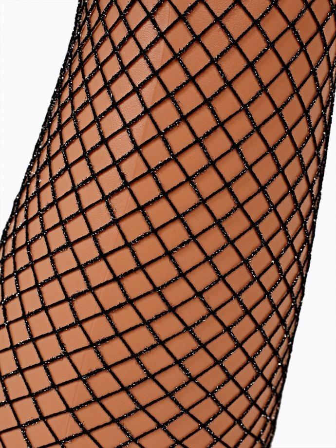 Fishnet tights with metallic thread