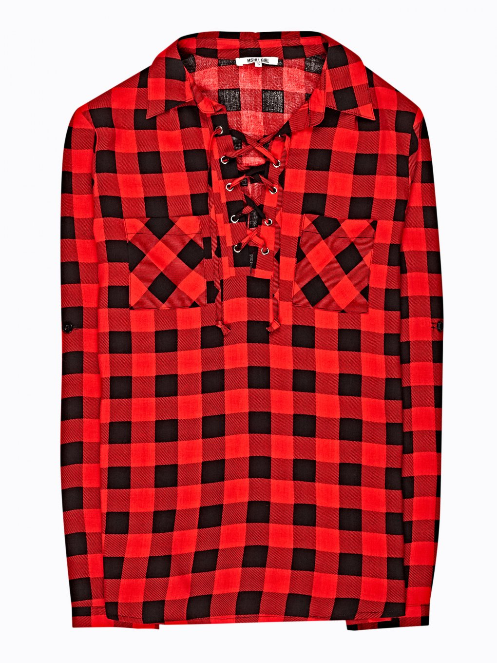 Plaid shirt with front lacing