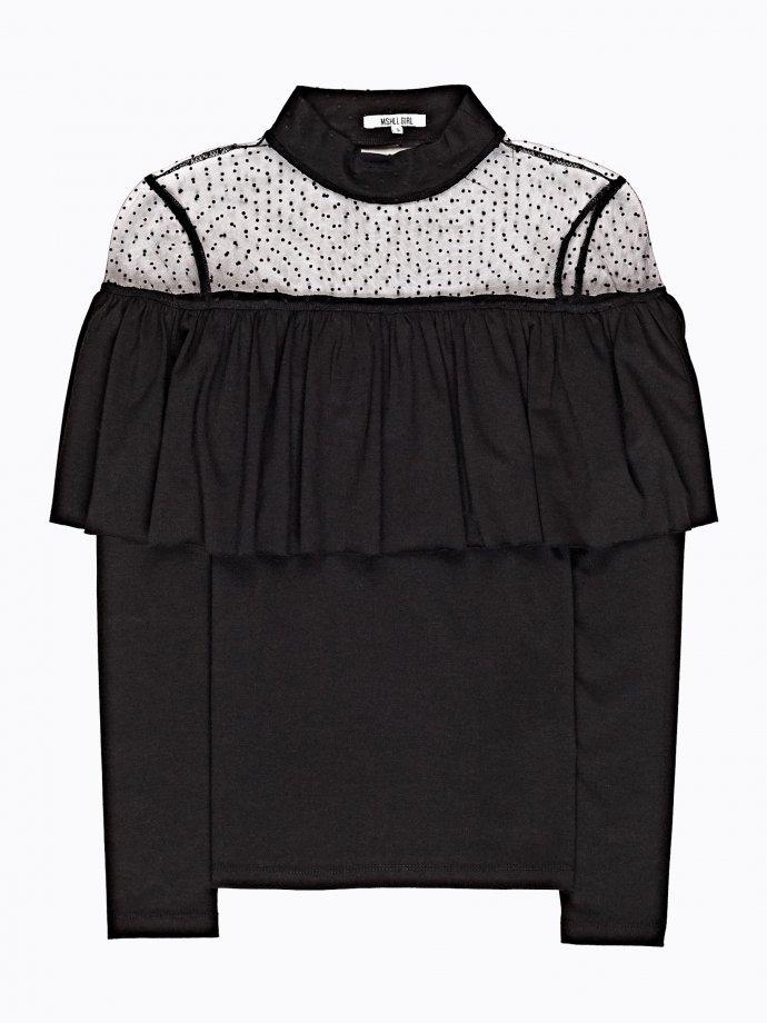 Ruffle top with mesh