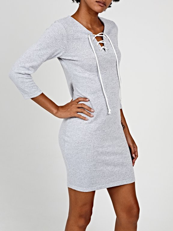 Marled bodycon dress with front lacing