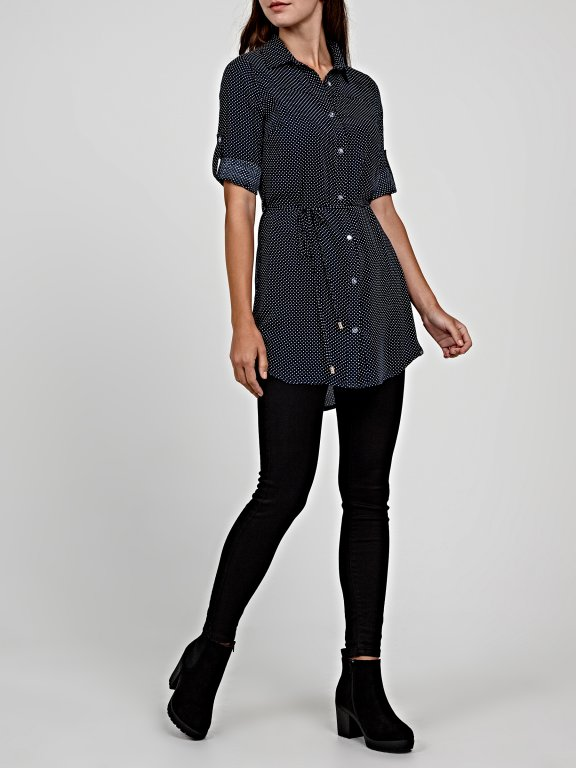 Longline printed viscose blouse with belt