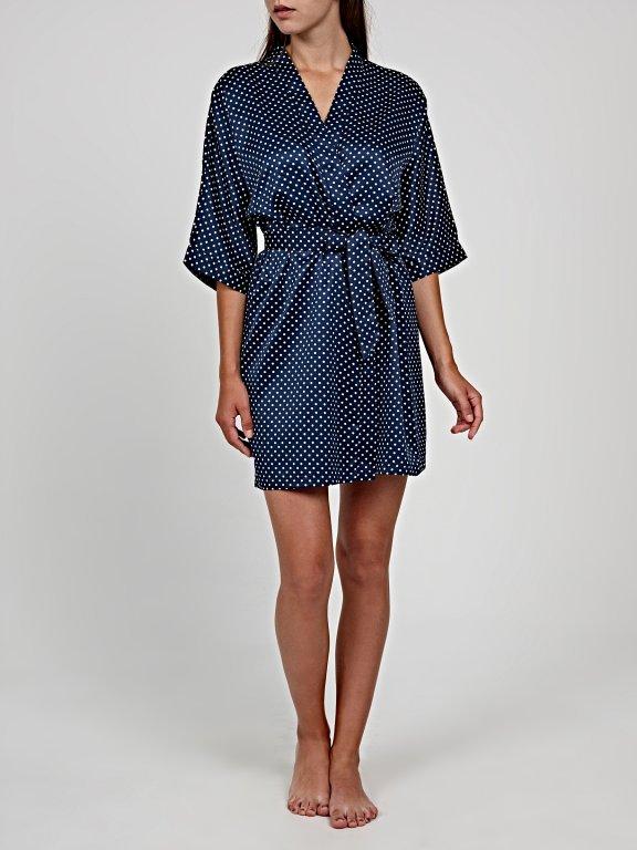 Polka dot print dressing gown