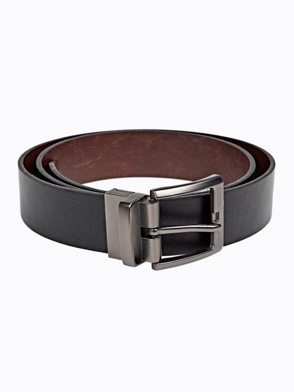 Reversible belt with metal buckle