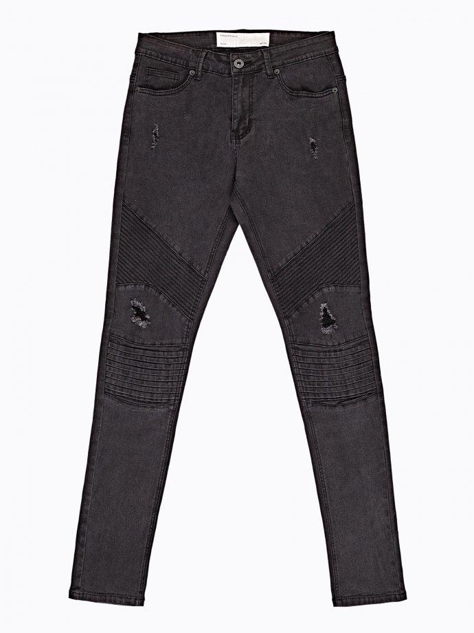Damaged slim fit biker jeans