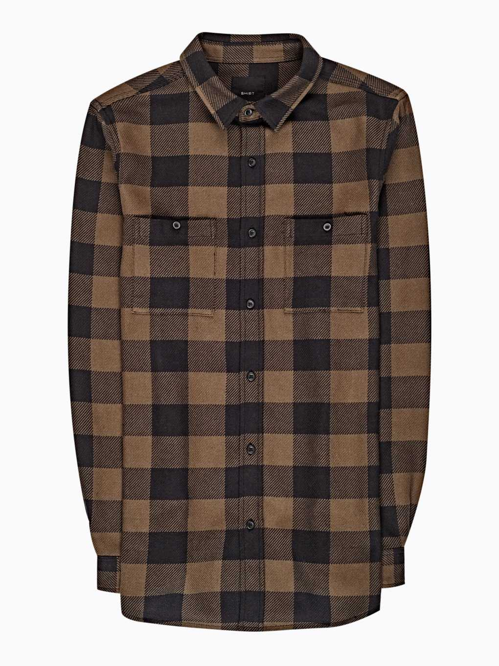 Regular fit plaid flannel shirt