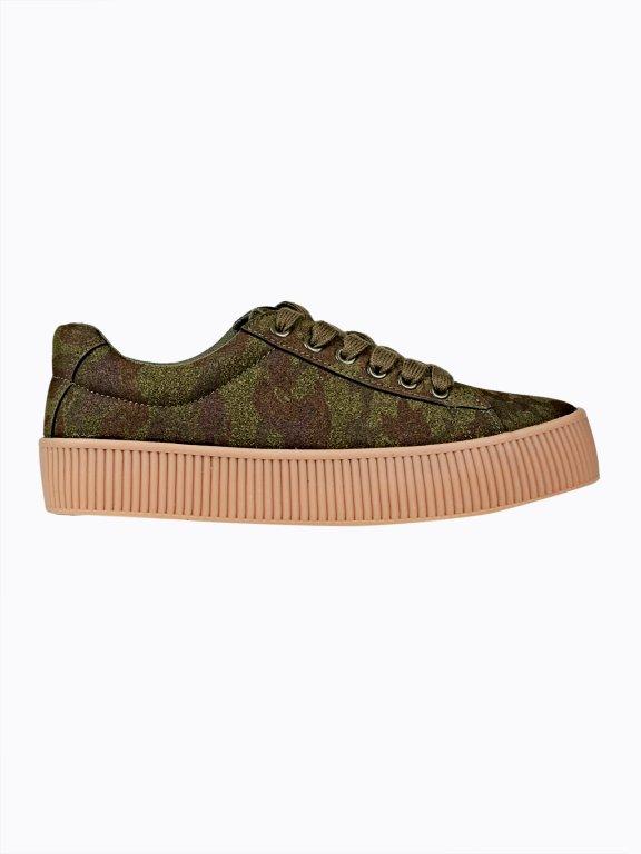 Camo print platform sneakers