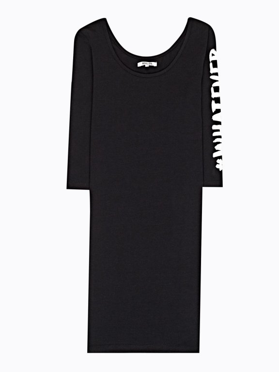 Jersey bodycon dress with sleeve print