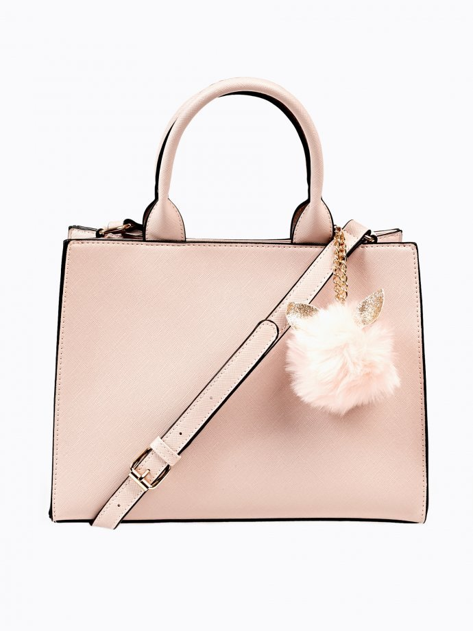 Tote bag with cat pom pom