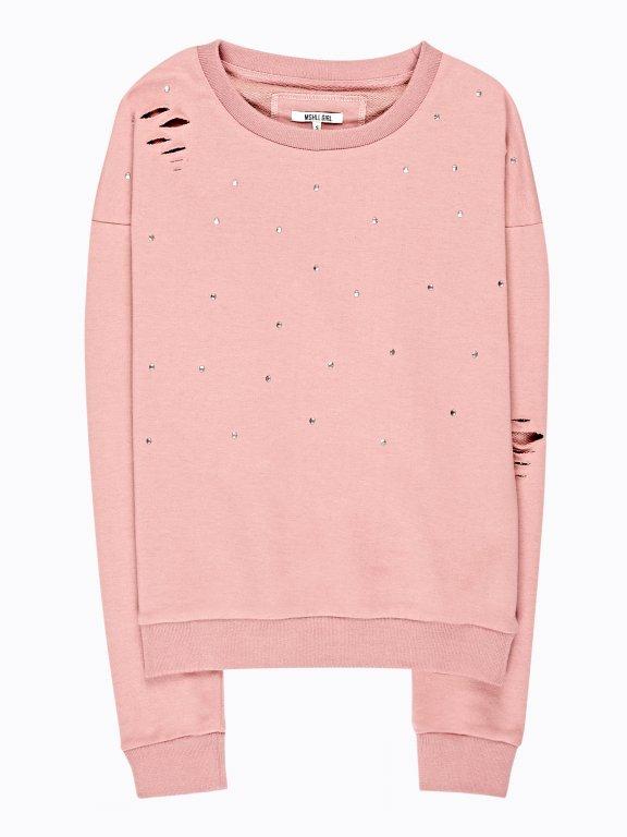 Distressed sweatrshirt with stones