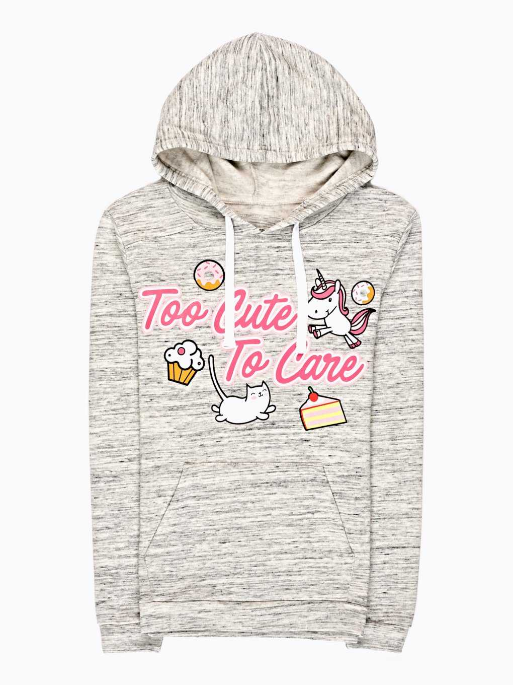 Marled hoodie with message print