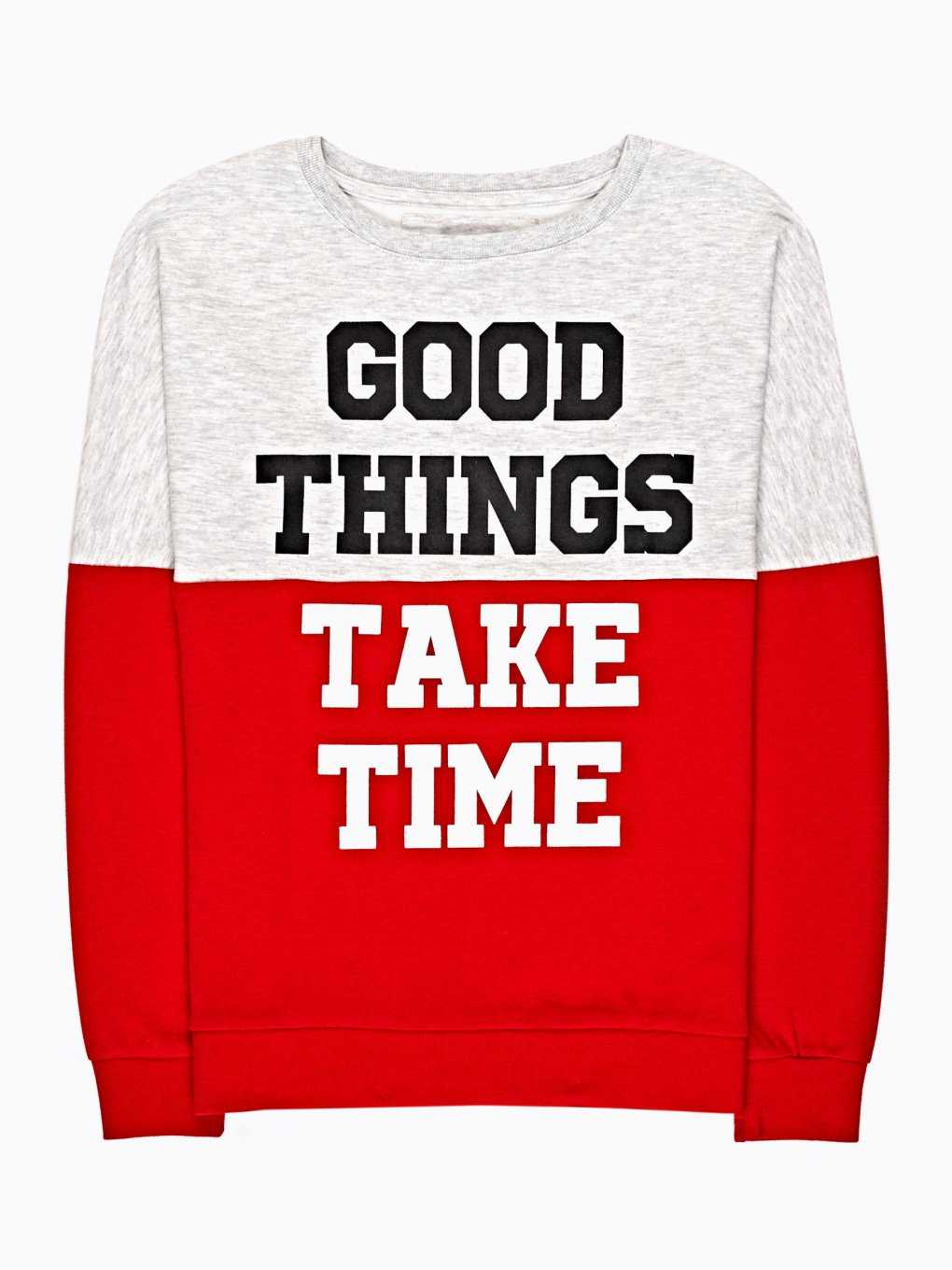 Colour block sweatshirt with message print