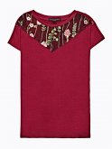 Embroidered t-shirt with mesh detail