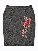 Marled mini skirt with floral patch