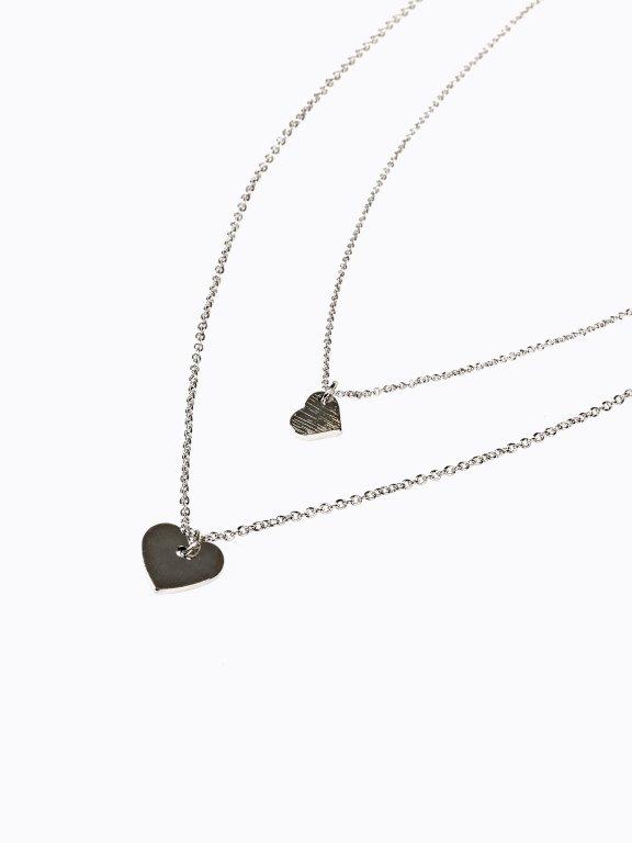 2-pack heart pendant necklaces set
