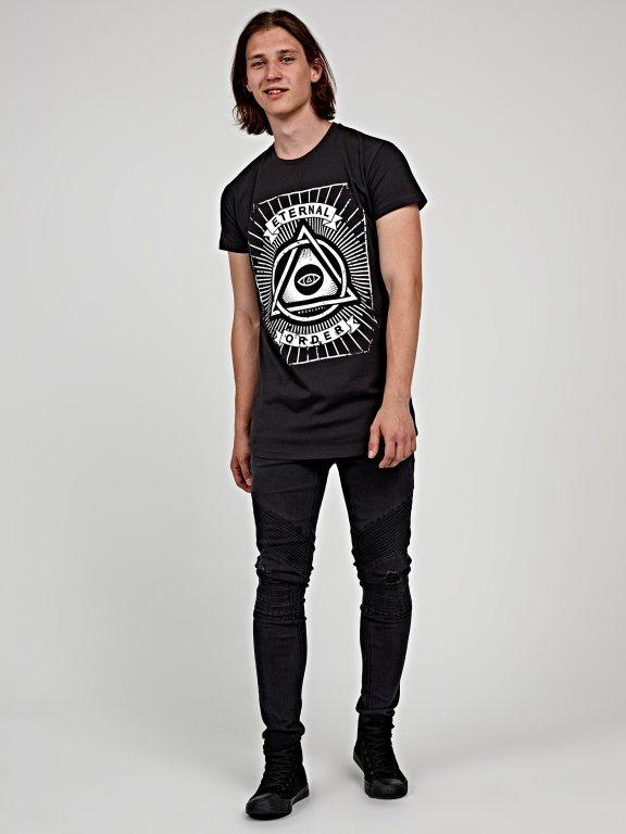 Longline printed t-shirt with scoop hem