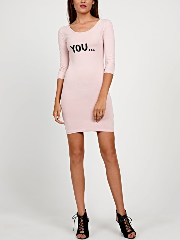 Jersey bodycon mini dress with message print