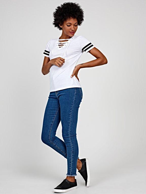 Varsity lace-up t-shirt
