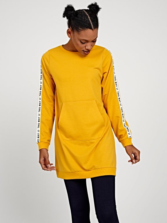Longline sweatshirt with printed tape