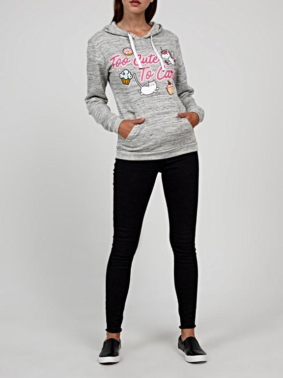 Marled hoodie with message print