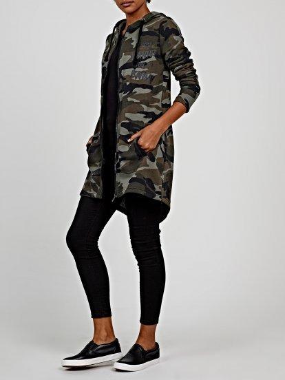 Longline camo print hoodie