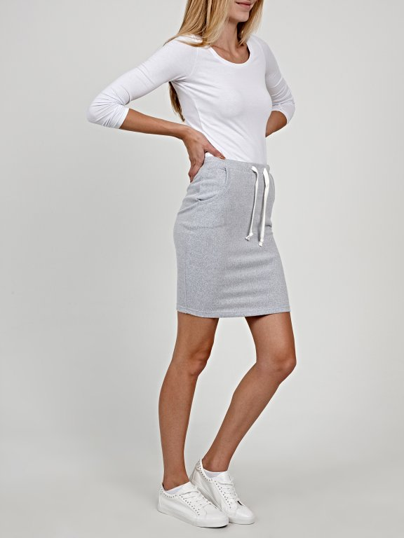 Marled mini skirt with pockets