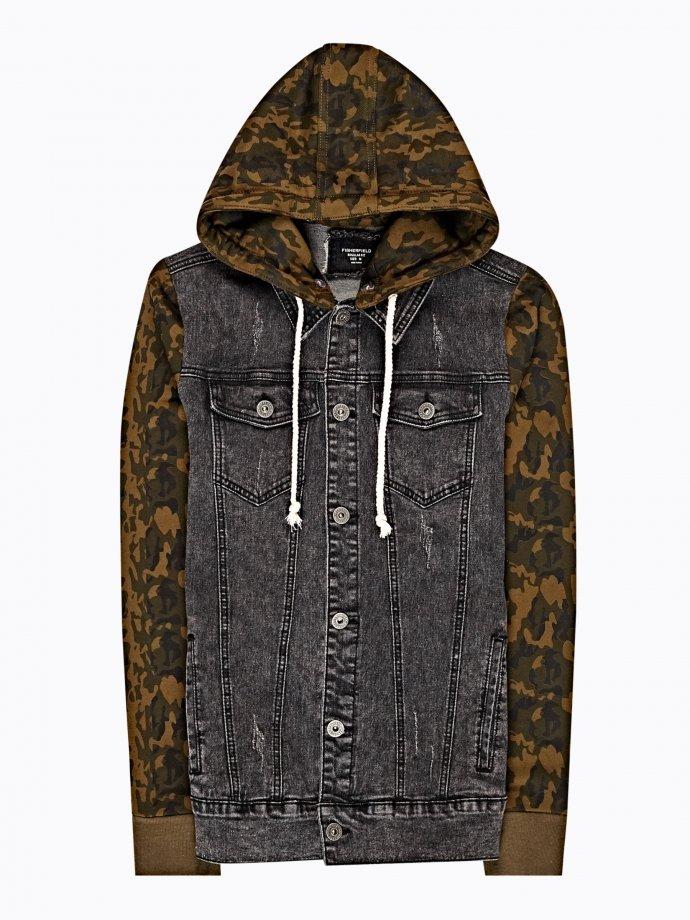 Denim jacket with camo print hood and sleeves