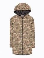 Camo print jacket with hood