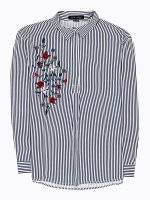 Striped viscose shirt with emroidery
