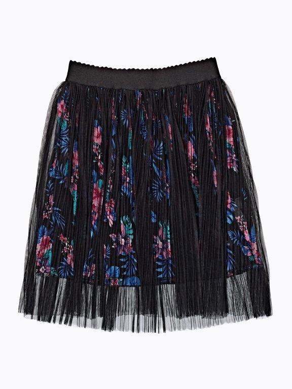 A-line floral lace skirt